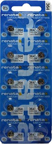 10 Pack 364 Renata Silver Oxide 0% Mercury Electronic