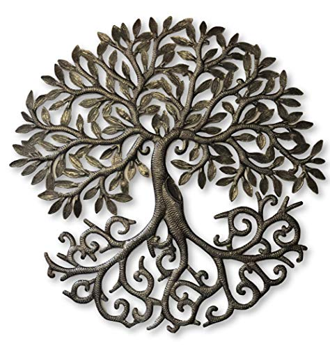 it's cactus - metal art haiti Tree of Life, Decorative Sculptures, Home Decor Wall Hangings, Family Tree, Roots, Flowers, 24 in. x 24 in. (Dancing Tree) (Sculptures Home Wall Decor)