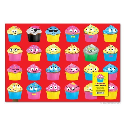 Accoutrements Cupcake Gift Wrap Paper - 2 (Cupcake Wrapping Paper)