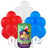 Red White and Blue Patriotic Party Supplies Latex Balloon Pack with Helium Tank