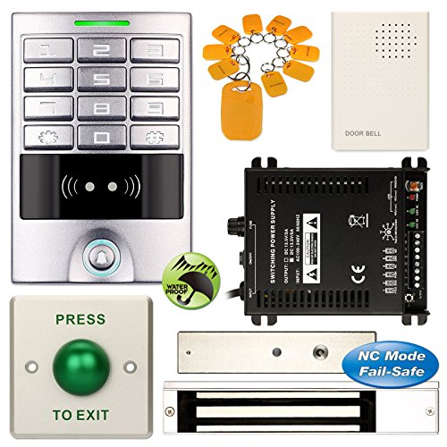 DIY Access Control Waterproof Keypad Office RFID Entry Code System Kit + Electric Magnetic Door Lock NC Fail Safe by Generic