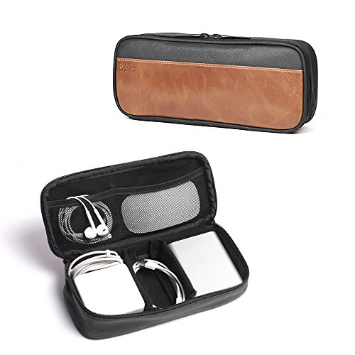 Dpark PU Leather & Canvas Universal Cable Organizer Electronics Accessories Case Waterproof Travel Carrying Bag for Phone, Charge, Power Bank - Case Leather Travel