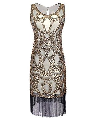 PrettyGuide Women's 1920's Sequin Art Deco Hollow Paisley Cocktail Flapper Dress