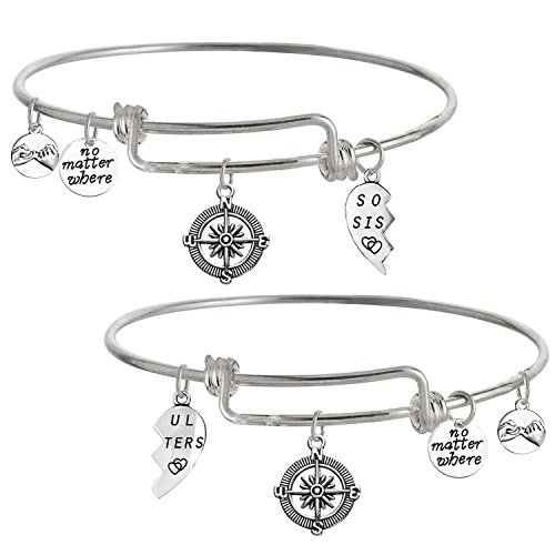 TISDA Best Friends No Matter Where Compass Bracelet Set Heart,Best Friend 2 Piece for Teens Half Broken Heart Bracelet,Shiny crystal charm Expandable Wire Bangle Bracelets (Y soul sisters)