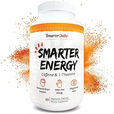 Caffeine 100mg & L-Theanine 200mg - Energy and Focus - 60 Pills - Mental Health Nootropic Supplement - All Natural, Pure Ingredients - Turn Full Time Brain Fog into Positive Brain Function