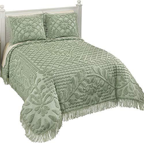 Collections Etc Vine Leaf Lattice and Floral Tufted Chenille Bedspread with Fringe Border - Elegant Bedroom Decor, Sage, ()