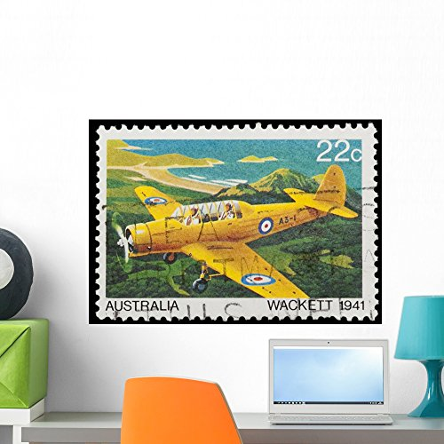Wallmonkeys Australian Stamp Featuring The Wackett Trainer Aircraft Wall Decal Peel and Stick Graphic WM213087 (24 in W x 17 in H)
