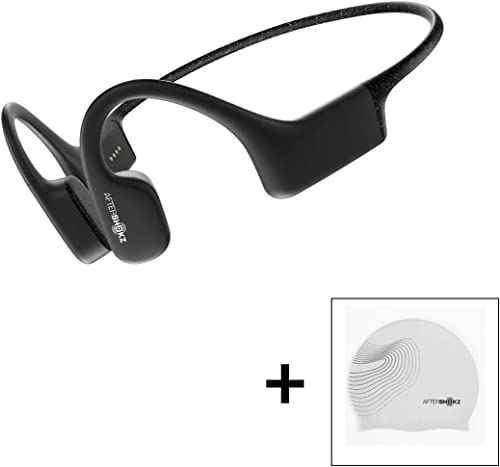 AfterShokz Xtrainerz Open-Ear MP3 Bone Conduction Wireless Sport Headphones, Waterproof for Lap Swimming and Watersports, with Swim Cap