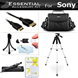 Starter Accessories Kit For Sony Alpha SLT-A58K, a58, SLT-A99V, SLT-A65, SLT-A77, SLT-A57 DSLR Camera Includes Deluxe Carrying Case + 57 Tripod With Case + Mini HDMI Cable + USB 2.0 Card Reader + LCD Screen Protectors + Mini TableTop Tripod + More