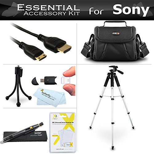 Starter Accessories Kit For Sony Alpha SLT-A58K, a58, SLT-A99V, SLT-A65, SLT-A77, SLT-A57 DSLR Camera Includes Deluxe Carrying Case + 57 Tripod With Case + Mini HDMI Cable + USB 2.0 Card Reader + LCD Screen Protectors + Mini TableTop Tripod + More by ButterflyPhoto