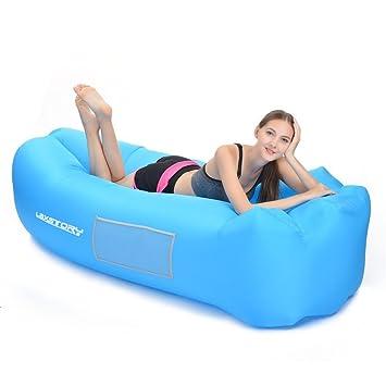 Amazon.com: Tumbona Inflable Aire sofá Hangout sofá tumbona ...