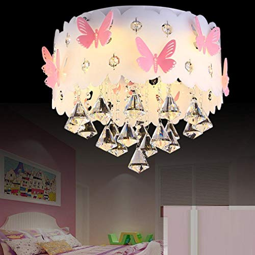LLYU E27 Modern Ceiling Light Crystal Girl Warm Romantic Bedroom Butterfly Ceiling Light Acrylic Decorative Ceiling Light (Size : -