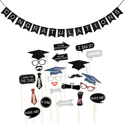 OULII 24pcs Graduation Photo Booth Props & CONGRATULATIONS Bunting Banner Graduation Party -