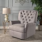 Palermo Tufted Fabric Power Recliner Chair (Light Grey)