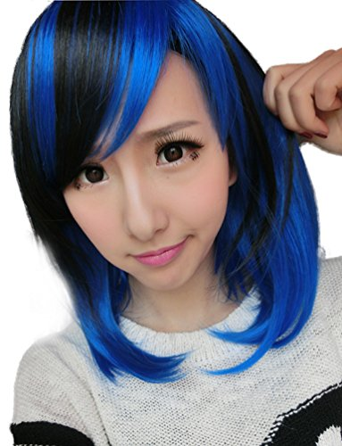 Price comparison product image Rise World Wig Women's Bobo Cosplay Wig Black & Blue Heat Friendly Party Short Hallowmas Wig