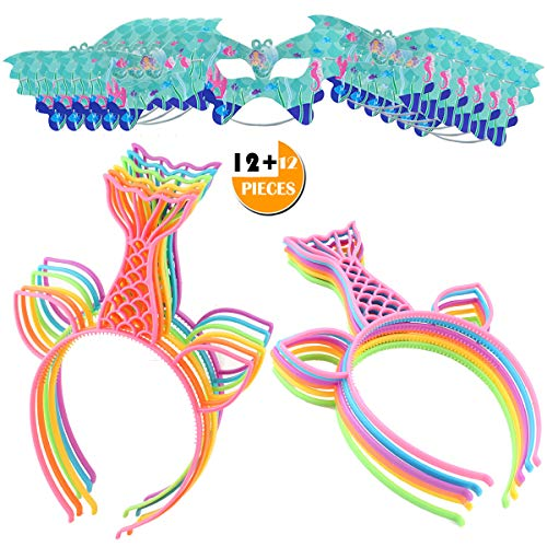 24PCS Girls Headbands for Mermaid Tail, Party Favors for Mermaid Hairbands Girl Hair Accessory, Perfect Party Gift Carnivals Prizes for Cosplay/Birthday/Spa Party Halloween Christmas, Bonus Masks]()
