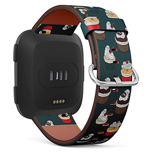 - Replacement Leather Strap Printing Wristbands Compatible with Fitbit Versa - Cherry Cupcake, Chocolate Muffin and Raspberry Cake