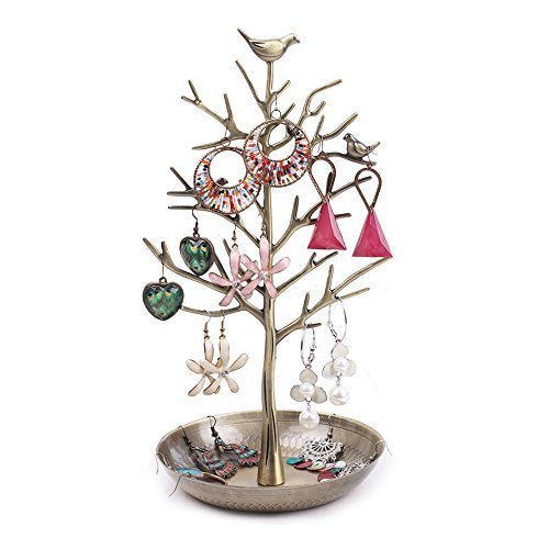 ZHCH Tree Birds Jewelry Display Stand Holder Rack for Hanging Earring Necklaces Bracelet Ring (antique cyan) - Jewelry Tree Twig