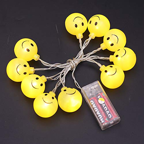 Glumes Decorative Smiley Face Lights, Easter Fairy String Lights Warm Yellow Battery Operated 1.2M(3.9ft) 10 LEDs for Indoor Outdoor Gardens,Home,Bedroom,Wedding,Xmas Birthday Party by Glumes (Image #3)