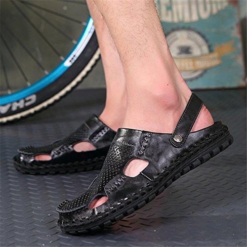 Color in 40 Sandali Size sandali Black sandali da per traspiranti all'aperto coperto pelle e libero per spiaggia il antiscivolo Blue adatti regolabili tempo EU uomo la al SErq1wE