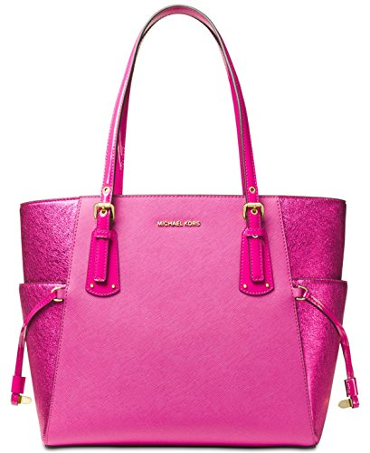 MICHAEL Michael Kors Voyager East West Signature Tote (Ultra - Michael Pink Kors