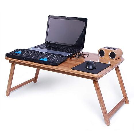 HAIPENG Bandeja Cama Mesa Ordenador Plegable Escritorio Portátil para Pequenos Espacios Bambú Computadora Estable Natural,
