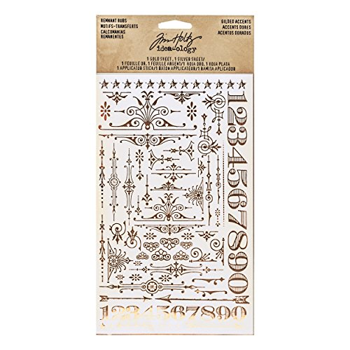 (Tim Holtz Idea-ology Remnant Rubs, Gilded Accents 2 Sheet/Pack, 4.75 x 7.75 Inches Per Sheet, Silver and Gold Foil Rub-Ons (TH93287))