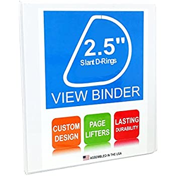 """best 3 Ring Binder, 2.5"""" Round Rings, White, Clear View, Pockets, 12 Pack. (2.5 inches)"""