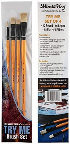 Pack 5 Assorted Brush Set Hogs Hair Bristle Brushes Size 2,4,8,6