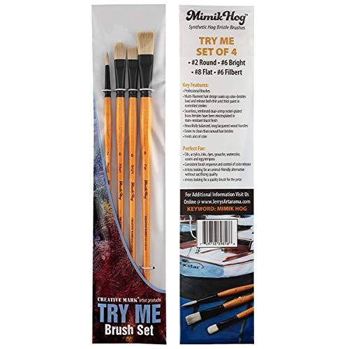 Creative Mark Artist Paint Brush Set - Mimik Hog Synthethic Bristle Long Handle Paint Brushes - Assorted Sizes - Try Me Set - 4 Pieces
