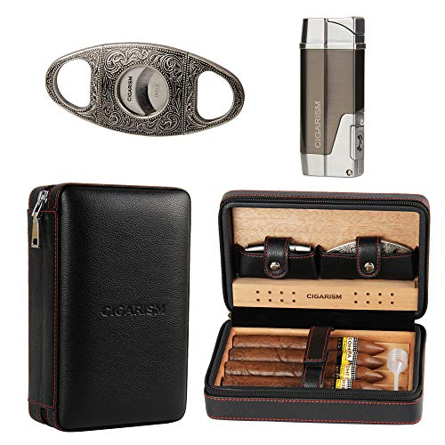 CIGARISM Cedar Lined Cigar Case Travel Humidor W/Cutter Lighter Set 4 Count (Black)
