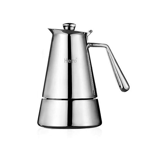 XXJF 4 tazas Olla Moka Cafetera italiana de acero inoxidable ...