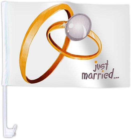 20 Stk Alsino Autoflagge Afl 10a Autofahne Für Die Hochzeit Just Married Ringe Auto Flagge Fahne Auto