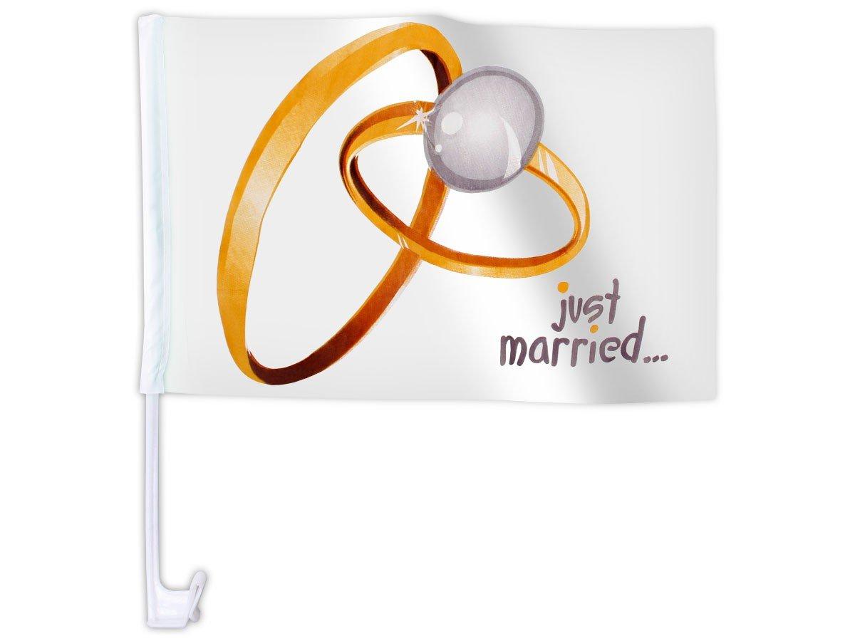 20 STK Alsino Autoflagge AFL-10A Autofahne f/ür die Hochzeit Just Married Ringe Auto Flagge Fahne