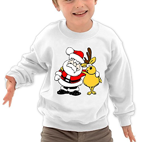 Price comparison product image Puppylol Santa And Moose Kids Classic Crew-neck Pullover Hoodie White 3 Toddler