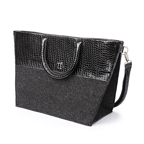 Black Patent Leather with Dark Grey Felt Structured Tote Bag. Features a Spacious Interior, Tow Inner Zippers Pockets, Tow Handles and a Removable Shoulder Strap, Women's Designer Handmade Bags