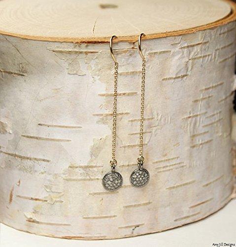 Pave Diamond Disc Earrings, Ear Threaders, Genuine Diamonds, Chain, Dangle Earrings, Gold Filled 8mm