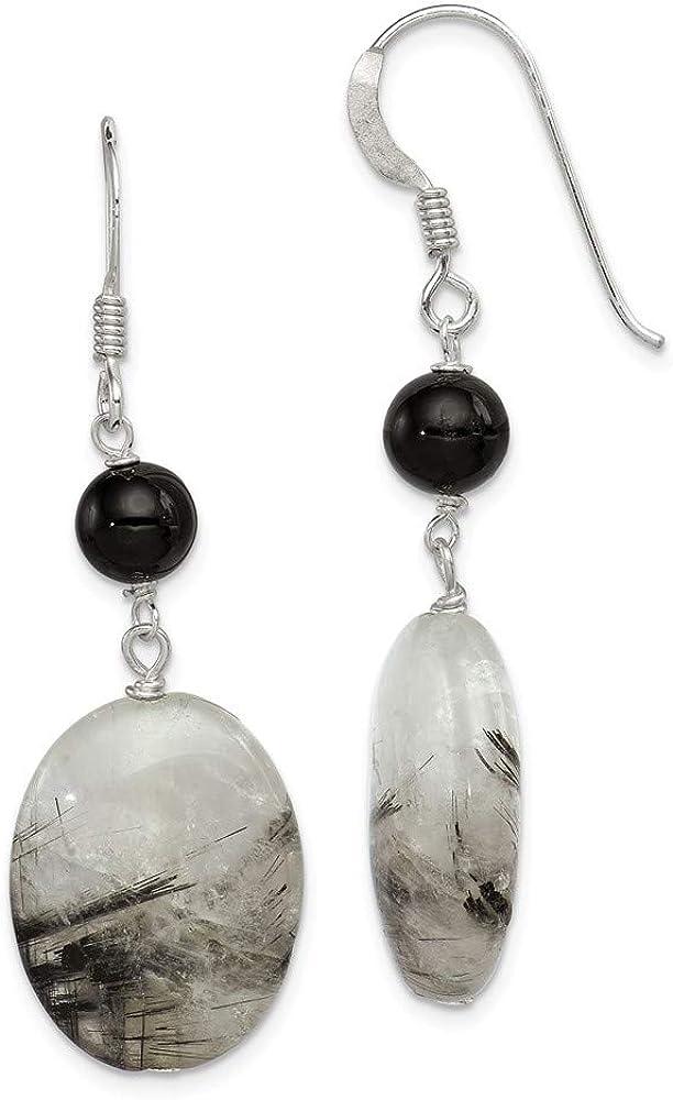 Pendientes de cuarzo turmalinados de plata de ley con cristales negros