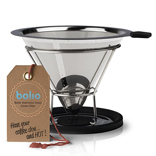 Bolio Stainless Steel Coffee Filter – No 4 Size – Fits Chemex, Bodum and most 10 Cup Coffee Makers (No.4)