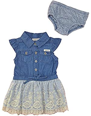 Baby Girls' Denim Dress with Lace Skirt & Panty