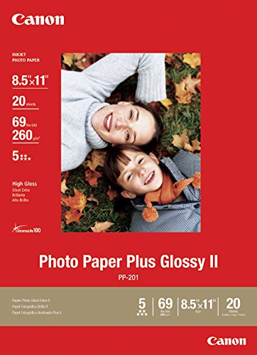 (Canon Photo Paper Plus Glossy II, 8.5 x 11 Inches, 20 Sheets (2311B001))