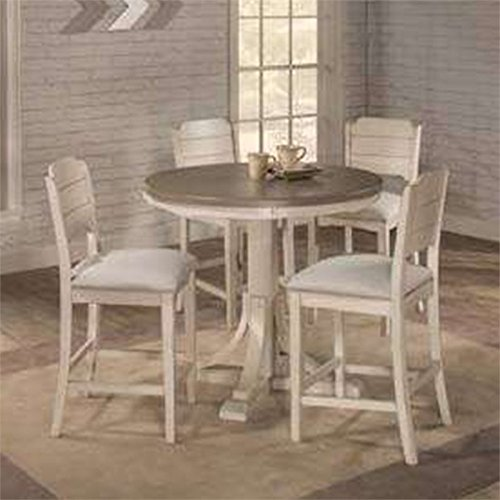 Hillsdale Furniture 4542CTB5S4 Hillsdale Clarion Round Counter Height Parson Stools, Distressed Gray/Sea White 5 Piece Dining Set