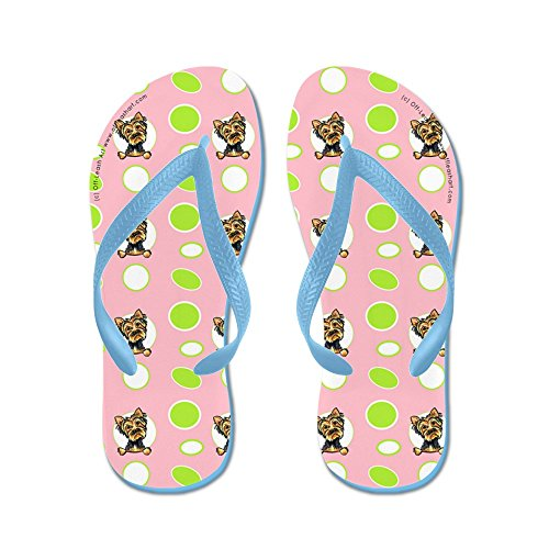 CafePress Yorkie Seeing Spots Pink - Flip Flops, Funny Thong Sandals, Beach Sandals Caribbean Blue