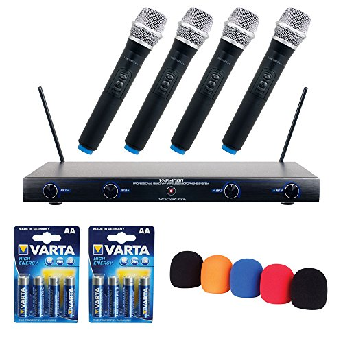 VocoPro VHF-4000-2 Professional Quad VHF Wireless Microphone System with WS-5 Microphone Windscreen Set and (2) AA LR6 Alkaline Battery (4-Pack)