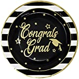 Gift Boutique Graduation Plates and Napkins 2018 for 50 Guests Disposable Dinnerware Set in Black and Gold Foil for Party Supplies Decorations