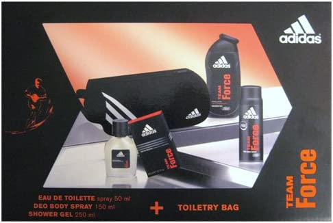 adidas – Coffret Eau de Toilette 50 ml + Desodorante 150 ml + Gel de ducha 250 ml + Neceser de – Team Force: Amazon.es: Belleza