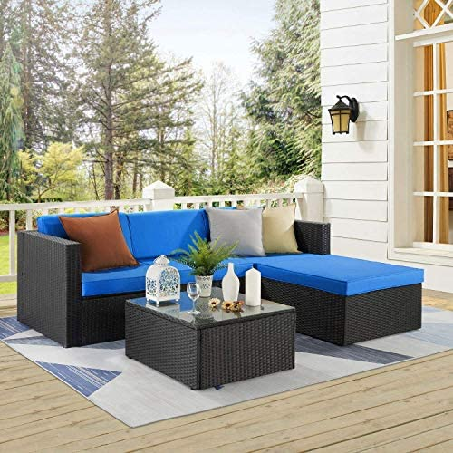 Waleaf 5 Pieces Outdoor Furniture Rattan Sectional Patio Sofa