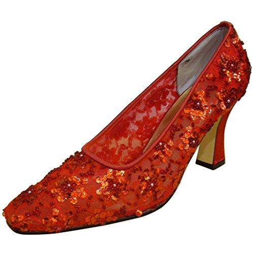 Jacques Levine Womens Pamela Tissu Élégant Robe Chaussures Rouge