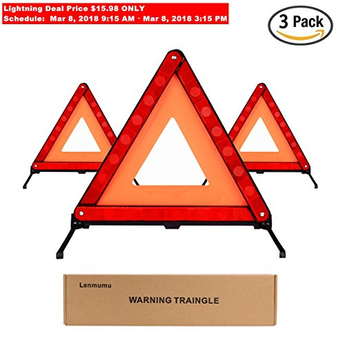 Lenmumu Safety Triangle Kit Road Emergency Warning Reflector Roadside Reflective Early Warning Sign, Foldable 3 Pack of Emergency Car Kit with Storage (Roadside Safety Triangle)