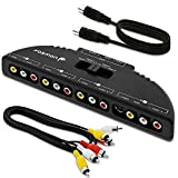 Fosmon Technology 4-Way Audio/Video RCA Switch Selector/Splitter Box & AV Patch Cable for Connecting 4 RCA Output Devices to Your TV